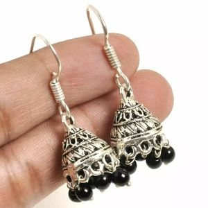 Real Genuine Indian Jhumka earrings of onyx